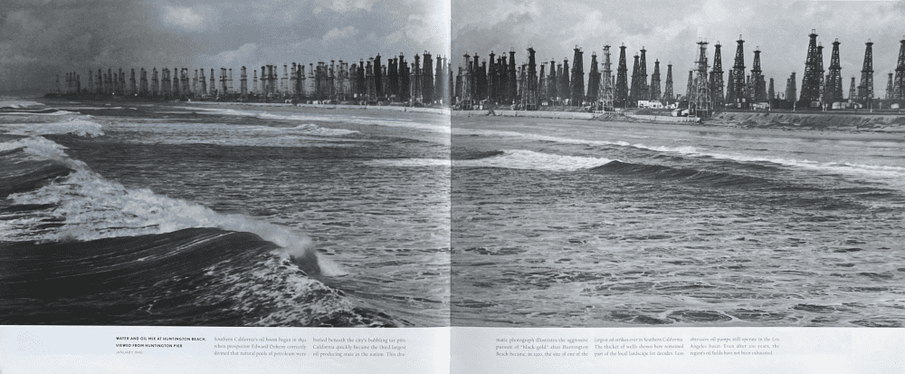 In 1940, The Huntington Beach Methane Overlay District - Water & Oil Mix at Huntington Beach Viewed from the Pier