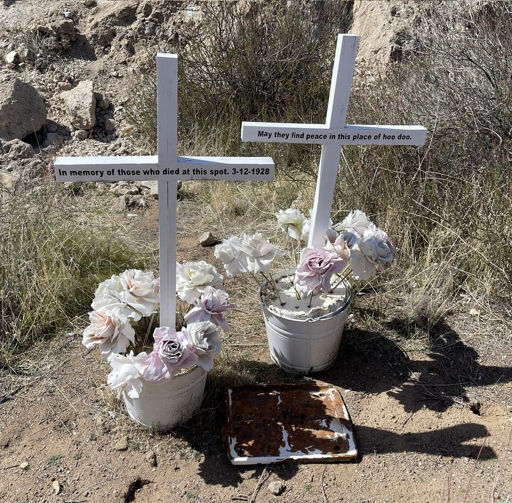 A civilian made memorial located adjacent to the largest detached fragment, about .25 mile downstream of the Saint Francis Dam