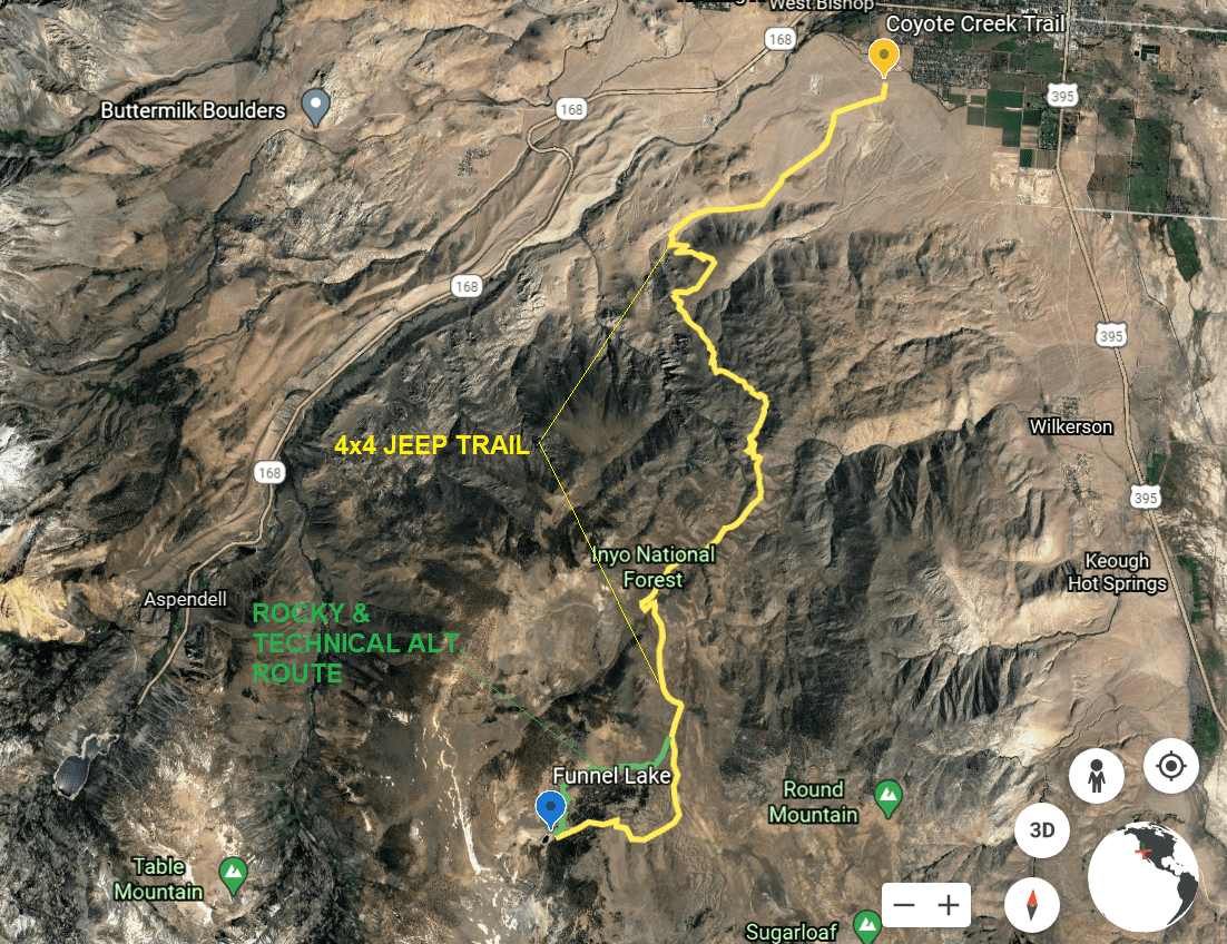 Aerial Image Map of Coyote Flats 4x4 Off Road Trail