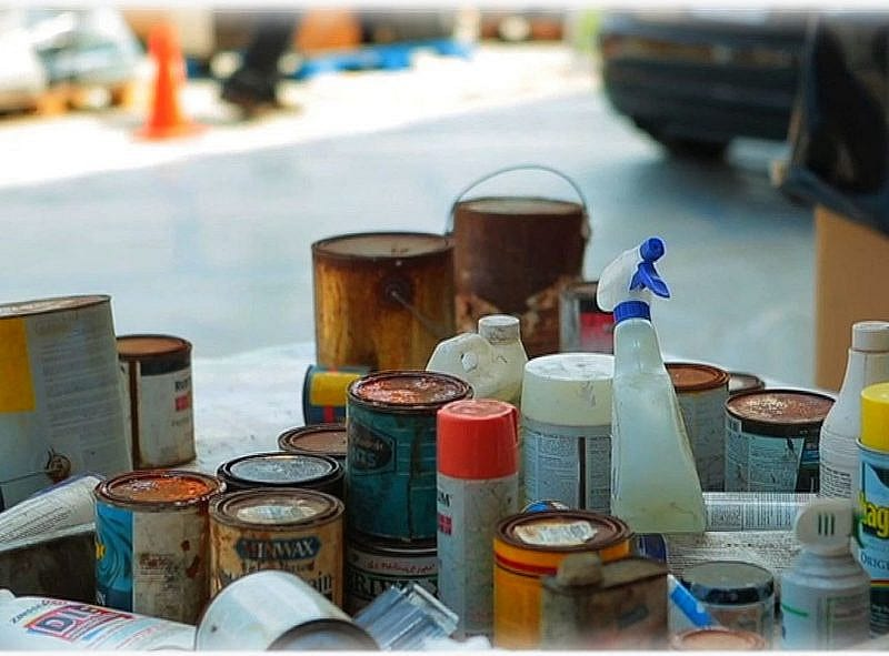 Disposing of hazardous household waste. Photo by Los Angeles County Department of Public Works.
