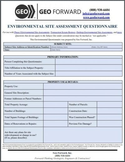 Environmental Questionnaire Example Pg1