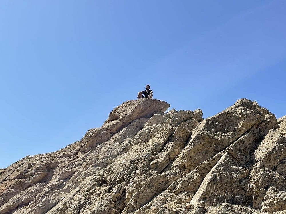 Geologist Adam Azad Kaligi atop the Saint Francis Dam Ruins 2021