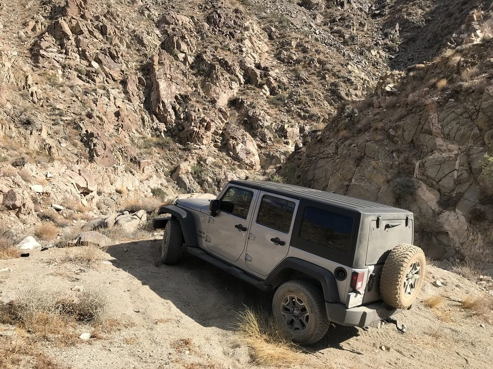 Off-roading with lowered tire pressures.
