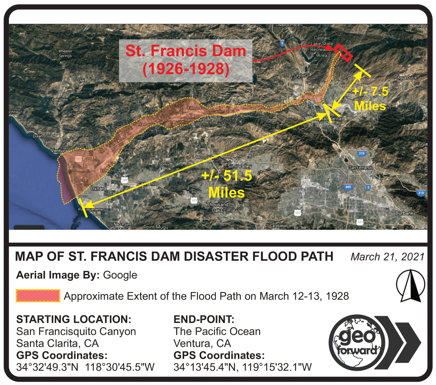 Map of St. Francis Dam Disaster Flood Path by Geo Forward 2021