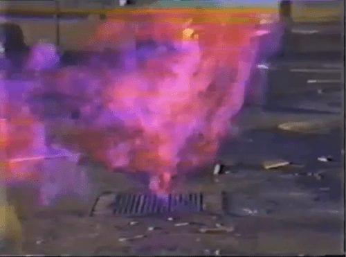 Methane Soil Gas on Fire in Storm Drain - Los Angeles 1985