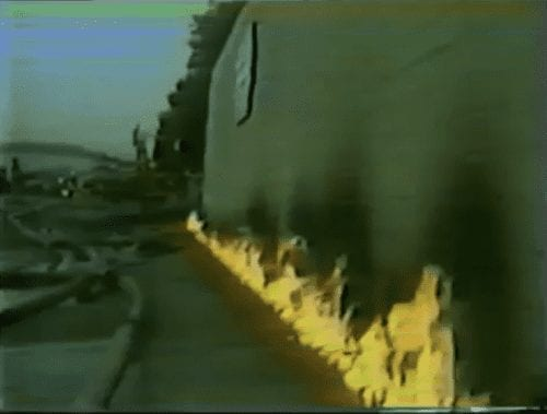Methane Soil Gas on Fire off Building - Los Angeles 1985