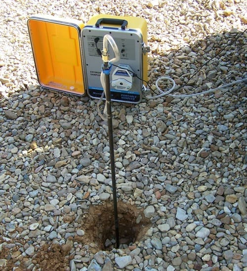 Methane Testing initially includes a shallow probe soil gas survey. Afterwards, a drilling rig is used to drill and install multiple sampling zones underground.