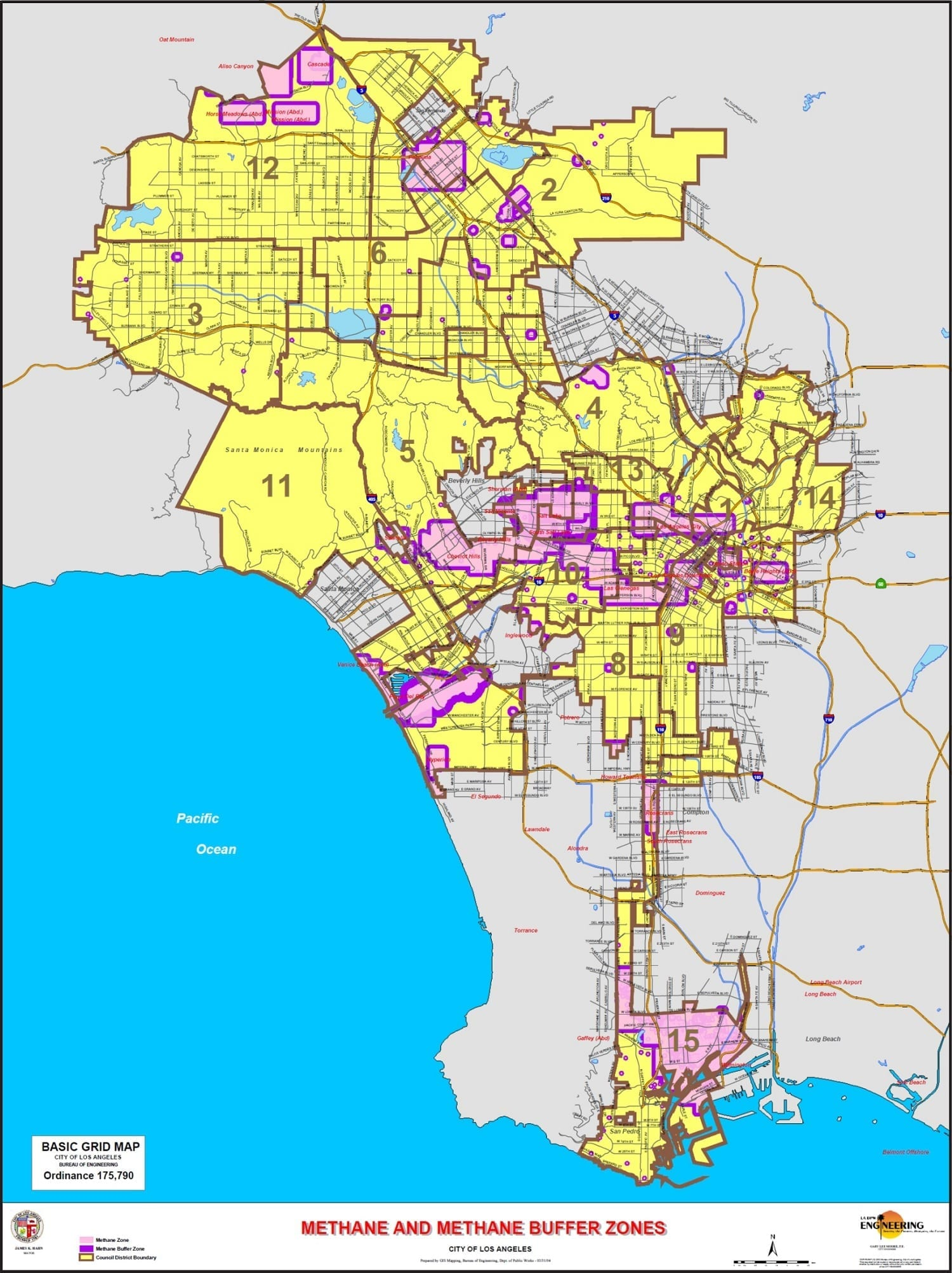 Los angeles methane zones map geo forward inc for In the city of la