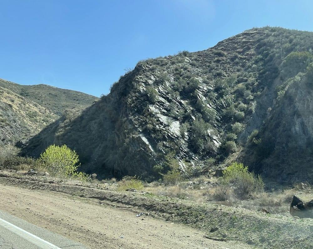 Outcrop of the Pelona Schist in San Francisquito Canyon, California.