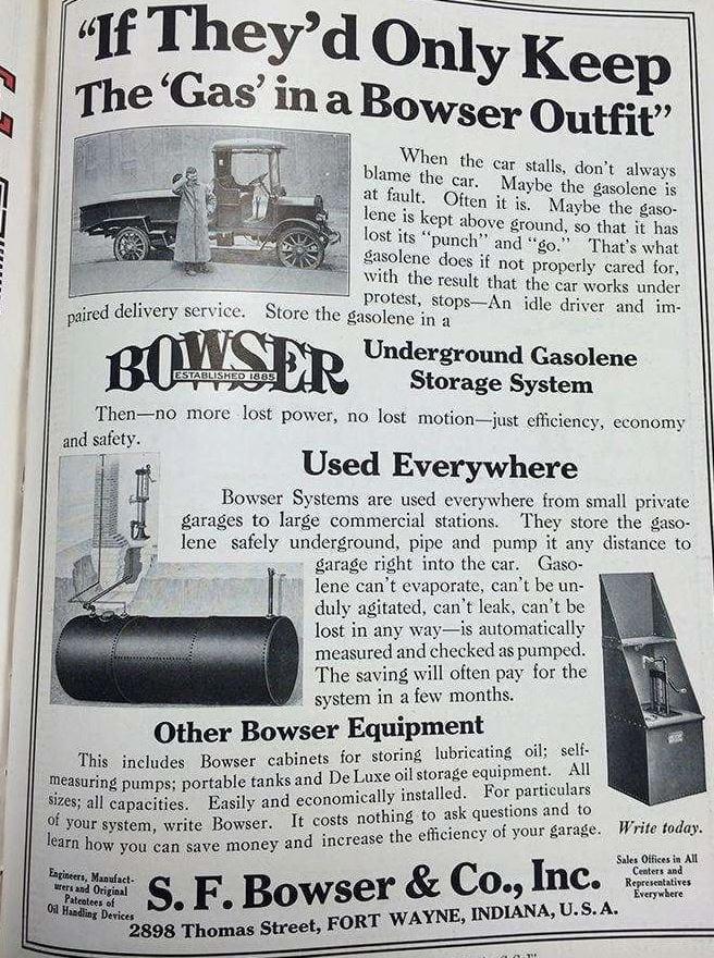 S.F. Bowser & Co. Advertisement, circa 1920