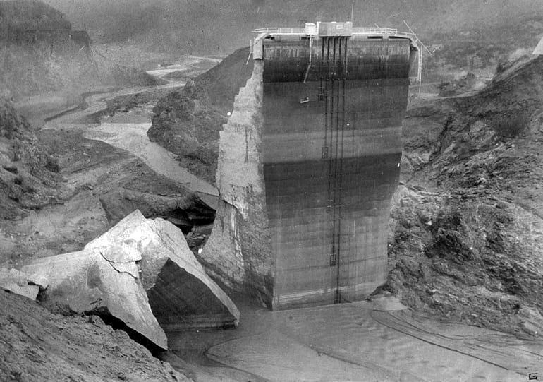 Photo of the St. Francis Dam Disaster Site - Photo Courtesy Of: The City of Santa Clarita