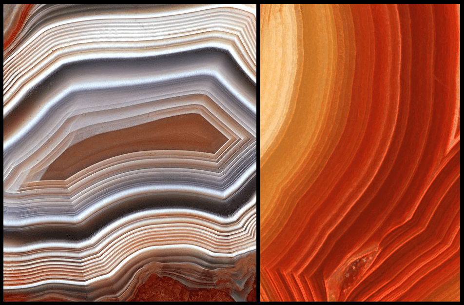 Some agate stones display similar shades of one color, whereas others display completely different colors