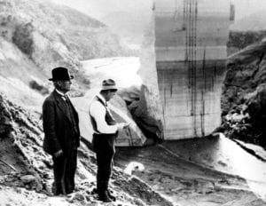 Photo of LADWP Chief Engineer William Mulholland at the St. Francis Dam disaster site.